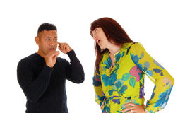 Wife yelling at her husband. Stock Image