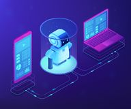 WiFi受控机器人学概念传染媒介等量例证 库存例证