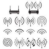 wifi的汇集和无线信号波浪和一些传染媒介路由器 库存图片