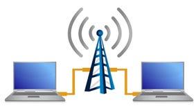 Wifi膝上型计算机连接数概念例证 免版税库存照片
