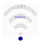 WIFI词在形状的拼贴画概念 免版税库存照片