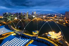 Wifi象和市scape和网络连接概念,聪明的城市 库存图片