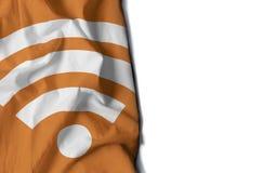 wifi象起了皱纹旗子,文本的空间 免版税库存图片