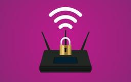 Wifi路由器与挂锁和信号标志的安全例证 免版税库存图片