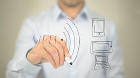 WiFi, иллюстрация концепции, сочинительство человека на прозрачном экране Стоковая Фотография