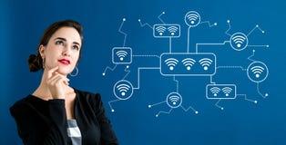 WiFi с бизнес-леди стоковая фотография rf