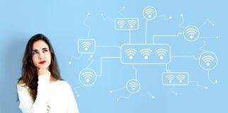 WiFi с молодой женщиной стоковое изображение