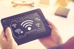 Wifi с планшетом стоковая фотография