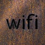 Wifi текста на ржавой стали Стоковые Изображения RF
