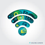 Wifi信号与社会媒介概念的标志例证 库存图片