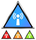 Wifi / Antennae / Signal Icon. Wifi / Antennae / Signal / Free wifi spot-area-cafe sign - blue, red, orange, green Royalty Free Stock Photos