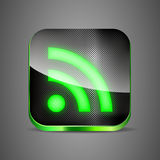 WiFi app icon on metal background. Green wireless button vector illustration eps 10 Stock Image