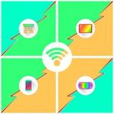 WiFi-Apparatenaffiche Royalty-vrije Stock Afbeeldingen