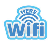 WiFi aquí Logo Symbol Sticker Illustration Fotos de archivo