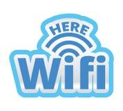 WiFi aquí Logo Symbol Sticker Illustration Fotos de archivo