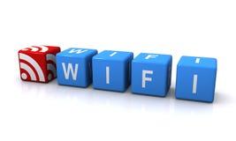 Wifi blaue Blockschrift Lizenzfreie Stockbilder