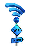 Wifi blue road sign Royalty Free Stock Photos