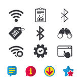 Wifi and Bluetooth icon. Wireless mobile network. Royalty Free Stock Photo