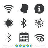 Wifi and Bluetooth icon. Wireless mobile network. stock illustration