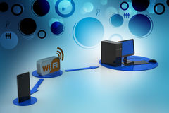 Wifi broadband symbol connect with computer and smart phone Stock Photos