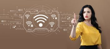 Wifi with business woman. On a brown background royalty free stock photos
