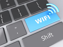Wifi button on computer keyboard. 3d illustration Stock Images
