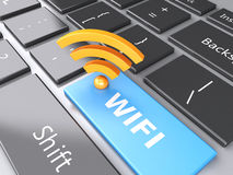 Wifi button on computer keyboard. 3d illustration Royalty Free Stock Image