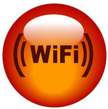 Wifi button or icon. Red wifi web button or icon - illustration