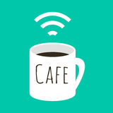 Wifi cafe vector illustration. A cup of coffee and wi fi sign. Internet free zone sign in flat style Royalty Free Stock Image