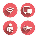 Wifi and chat bubbles. Add user, megaphone Royalty Free Stock Images