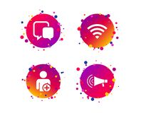 Wifi and chat bubbles. Add user, megaphone. Vector. Wifi and chat bubbles icons. Add user and megaphone loudspeaker symbols. Communication signs. Gradient circle stock illustration