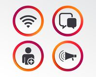 Wifi and chat bubbles. Add user, megaphone. Wifi and chat bubbles icons. Add user and megaphone loudspeaker symbols. Communication signs. Infographic design vector illustration