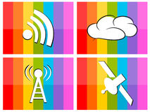 Wifi cloud satellite in colorful background illust Stock Image