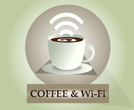 Wifi coffee icon. Vector wi-fi icon  3. Coffee and wi-fi Royalty Free Stock Photos