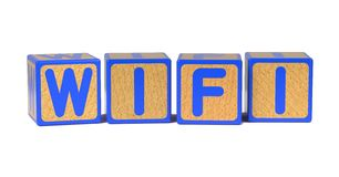 WiFi - Colored Childrens Alphabet Blocks. Royalty Free Stock Images