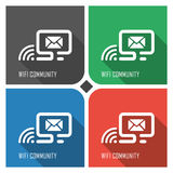 Wifi community flat vector icon on colorful background. simple PC web icons eps8. Stock Photo