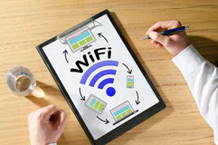 Wifi concept on a desk Royalty Free Stock Images