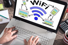 Wifi concept on a laptop screen. Wifi concept shown on a laptop screen Royalty Free Stock Photography