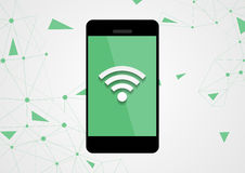Wifi connection by mobile phone tech background Stock Photos