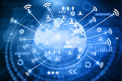 Wifi connection on world earth Royalty Free Stock Images