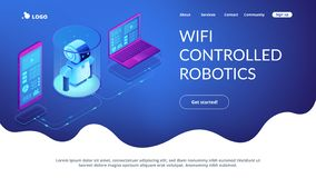 WiFi controlled robotics isometric3D landing page. vector illustration
