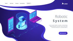 WiFi controlled robotics isometric3D landing page. royalty free illustration