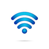 Wifi 3d symbol wireless connection icon. Bright blue illustration realistic design vector