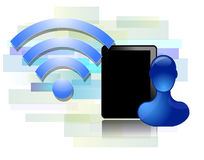 Wifi design with black tablet Royalty Free Stock Photos