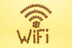 Wifi di zona di un self-service o di una caffetteria Abbiamo un wifi Fotografie Stock Libere da Diritti