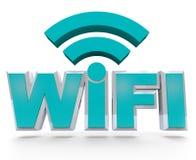 WiFi die - draadloos hete vlekgebied symboliseert Stock Afbeeldingen