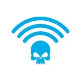 WiFi-dood Dodelijk WiFi Draadloze verbindingsschedel royalty-vrije illustratie
