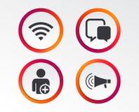 Wifi e bolhas do bate-papo Adicione o usuário, megafone ilustração do vetor