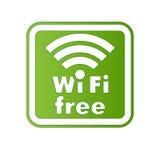 Wifi e segno liberi del Internet Immagine Stock
