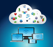 Wifi-Elektronikverbindung und Wolkenillustration Stockbild